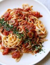Паста, макароны, Паста а-ля Путанеска, Спагетти, Лингвини, каперсы, вторые блюда, соус